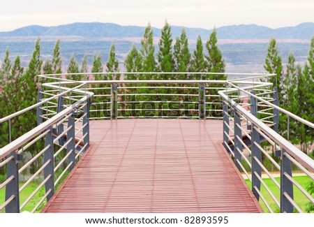 tropical balcony with mountain  view - stock photo