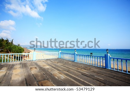 tropical balcony with sea view - stock photo