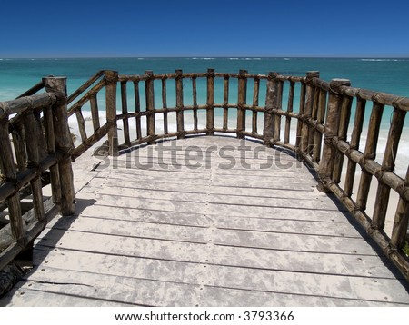 tropical balcony with sea view at tulum, mexico - stock photo