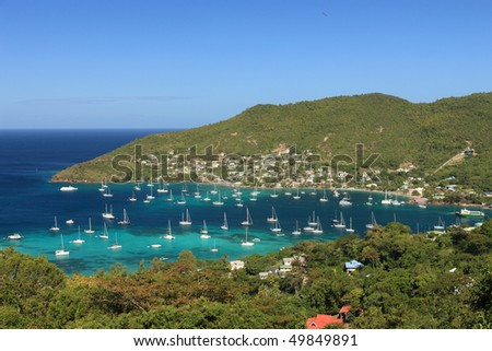 Tropical bay on Bequia Island, St. Vincent in the Caribbean - stock photo