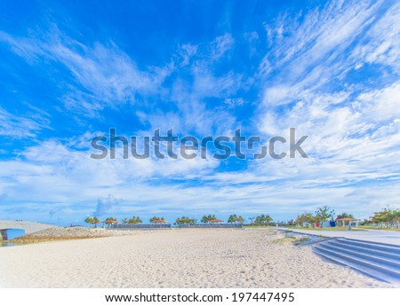 Tropical beach and blue sky of Okinawa - stock photo