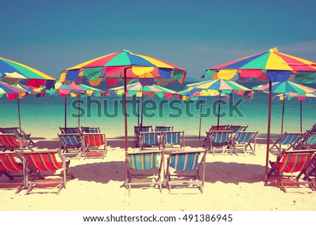 Tropical beach and blue sky on the beach in Phuket, Thailand