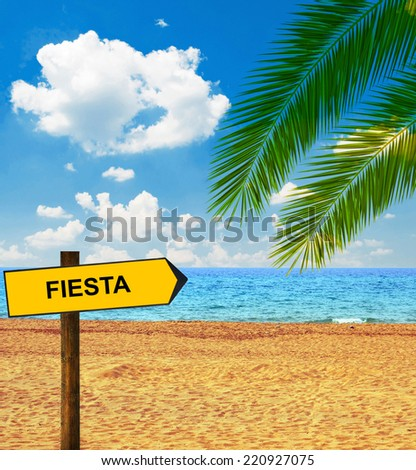 Tropical beach and direction board saying FIESTA - stock photo