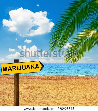 Tropical beach and direction board saying MARIJUANA - stock photo