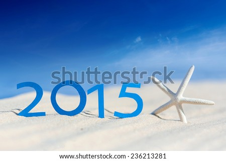 tropical beach and 2015 happy new year. Season vacation snd new year concept