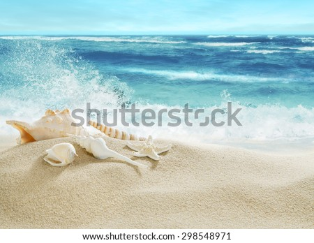 Tropical beach and splashing waves. - stock photo