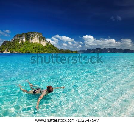 Tropical beach, Andaman Sea, Thailand - stock photo