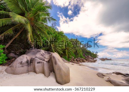 Tropical beach Anse Georgette at island Praslin, Seychelles  - stock photo