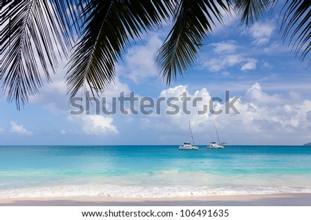 Tropical beach Anse Lazio, Seychelles - stock photo