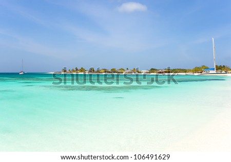 Tropical beach at archipelago Los Roques, Venezuela - stock photo