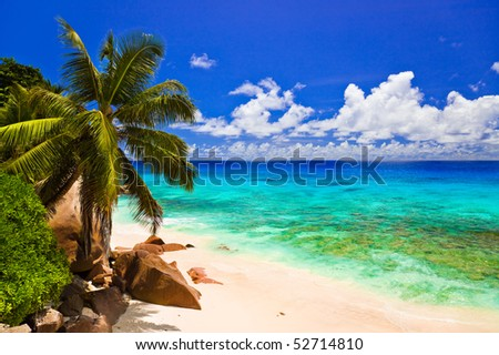 Tropical beach at island La Digue, Seychelles - vacation background - stock photo