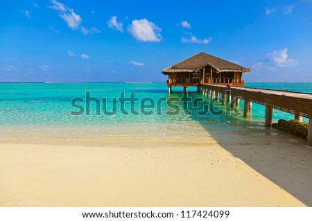 Tropical beach at Maldives - vacation and nature background - stock photo