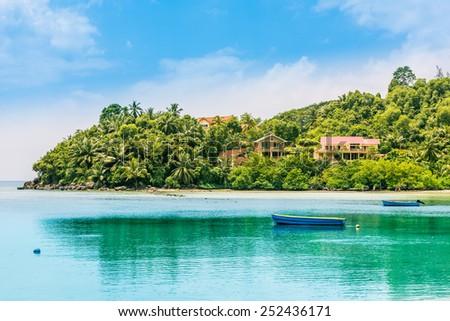 Tropical beach at Seychelles. Horizontal shot - stock photo
