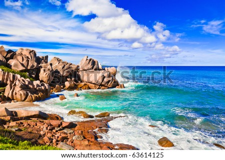 Tropical beach at Seychelles - nature background - stock photo