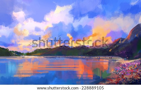 tropical beach at sunset,digital painting - stock photo