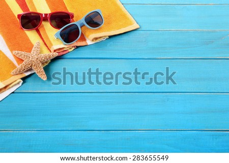 Tropical beach background border, sunglasses, copy space - stock photo