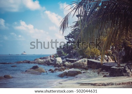 Tropical beach background with palm trees. Vintage effect. Koh Samui