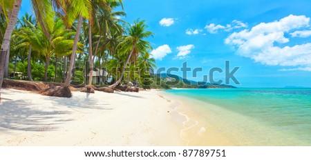 tropical beach Bang Po, Koh Samui, Thailand. panorama - stock photo