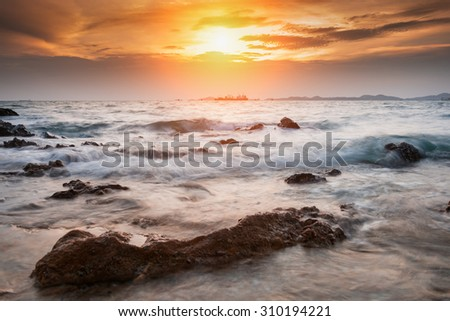 Tropical beach beautiful sunset at Sea, asia of Thailand - stock photo