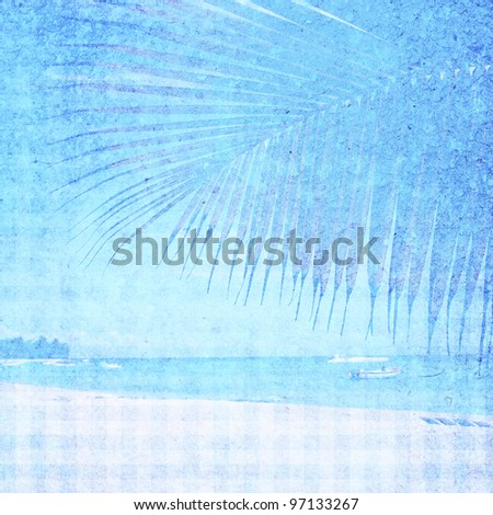 Tropical beach. Bluer background image for the photo album, photo book with the texture of the paper - stock photo