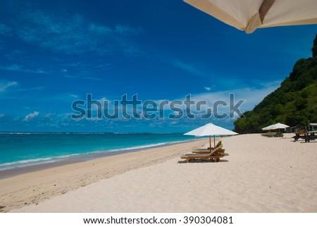 Tropical beach called Pandawa. The Bukit Peninsula, Bali, Indonesia. - stock photo
