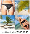 Tropical beach collage with sexy woman - stock photo