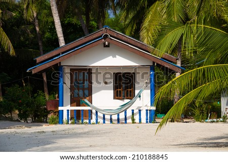 Tropical beach house in island Koh Phangan ,Thailand - stock photo