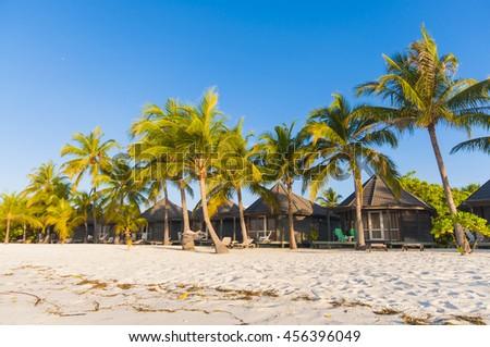 Tropical beach house on the Maldives, Kuredu - stock photo