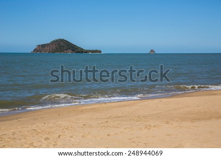 Tropical beach in Cairns, Australia. - stock photo