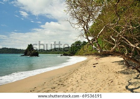 Tropical beach in Costa Rica - stock photo