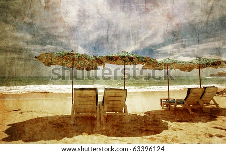 Tropical beach in grunge and retro style - stock photo