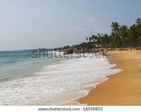 Tropical beach in Kovalam, Kerala, India - stock photo