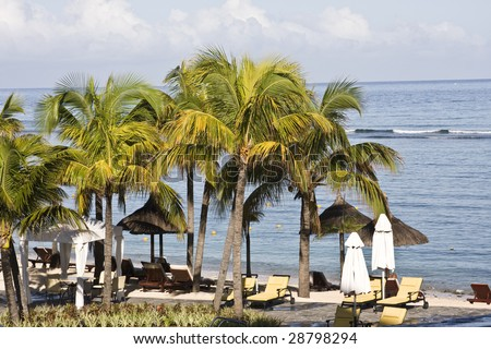 Tropical beach in luxury resort in Mauritius
