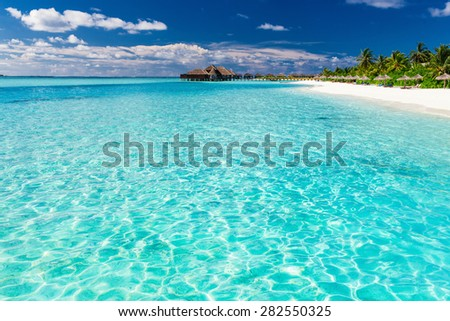 Tropical beach in Maldives with coconut palm trees and white sand - stock photo
