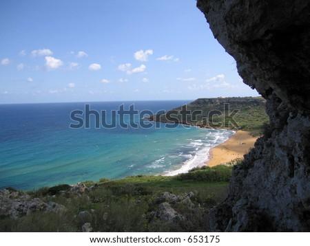 Tropical beach in Malta - stock photo