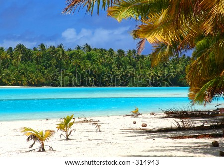 Tropical Beach in the Cook Islands - stock photo