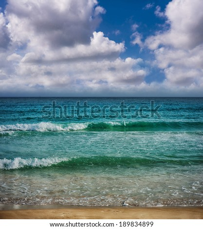 tropical beach in Tropical Paradise. Summertime holiday in Dominican Republic, Seychelles, Caribbean, Philippines, Bahamas. Relaxing on remote Paradise beach. Luxury Resort on Atlantic ocean. - stock photo