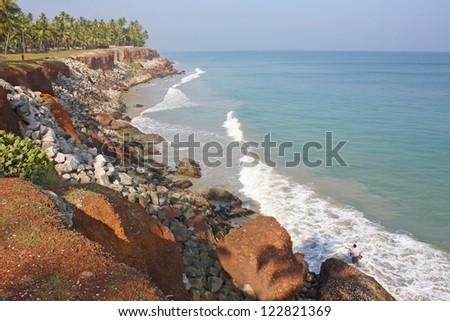Tropical beach in Varkala, Kerala, India - stock photo