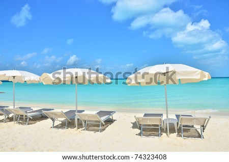 Tropical beach (Isla Mujeros, Mexico) - stock photo