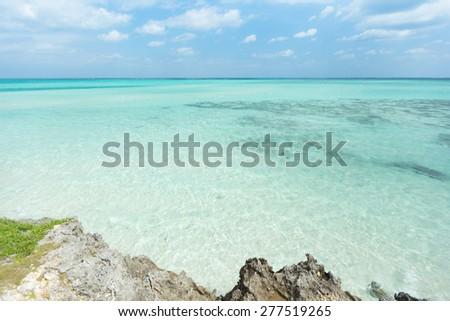 Tropical beach lagoon paradise in Okinawa, Japan - stock photo