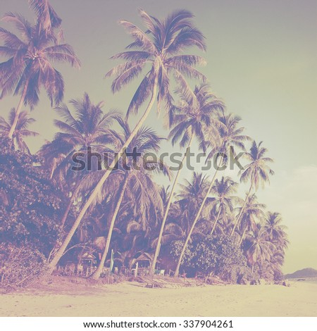Tropical beach landscape with coconut palm trees at sunset. Paradise design banner background. Vintage (instagram) effect. Old-fashioned retro image.