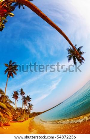 Tropical beach, Mak island, Thailand, fisheye shot - stock photo