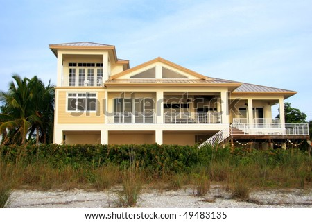 Tropical Beach Mansion - stock photo