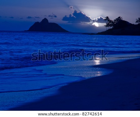 Tropical Beach Moonrise - Kailua Beach, Oahu Hawaii - stock photo
