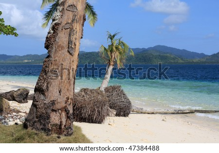 Tropical beach near El Nido village in Philippines