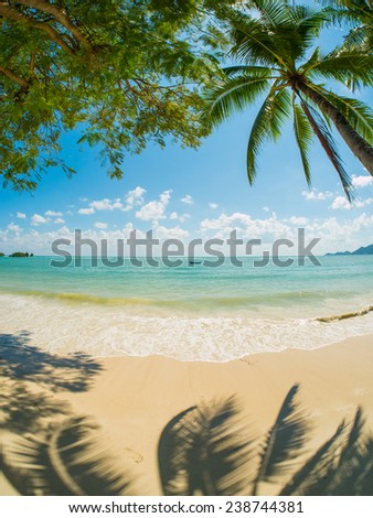 Tropical beach of Chaweng on Koh Samui island in Thailand - stock photo