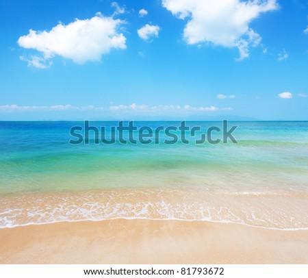 tropical beach of koh Samui, Thailand, and koh Pangan at horizon - stock photo
