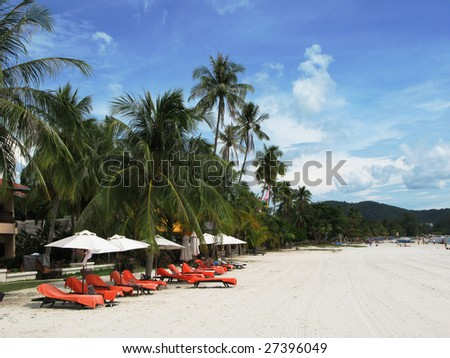Tropical beach of Langkawi island, Malaysia - stock photo