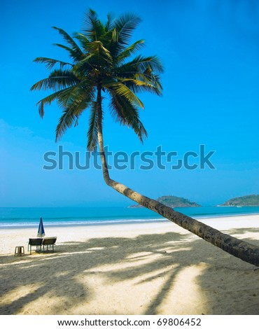 Tropical beach of Palolem, Goa, India - stock photo