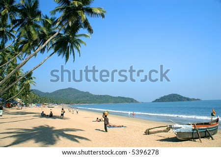 Tropical beach of Palolem, Goa state, India - stock photo